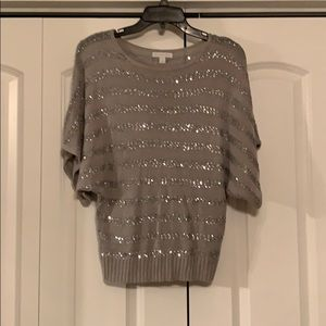 NYC silver and gray blouse with sequence detail.